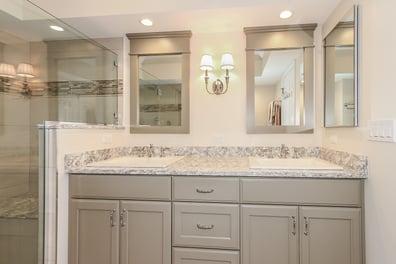 Custom double vanity, drop in sink, bathroom remodel