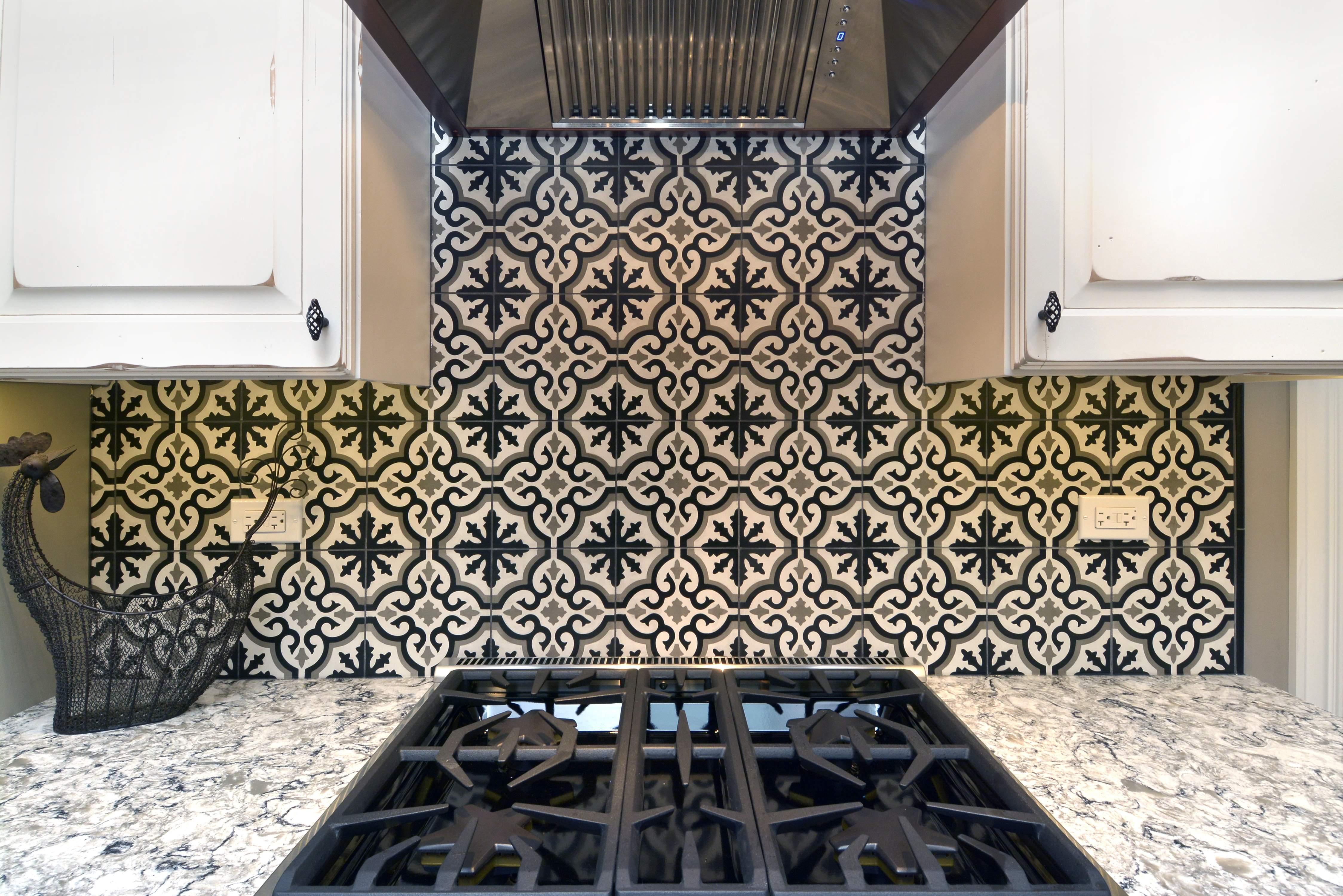 Black and White Cement Tile Backsplash