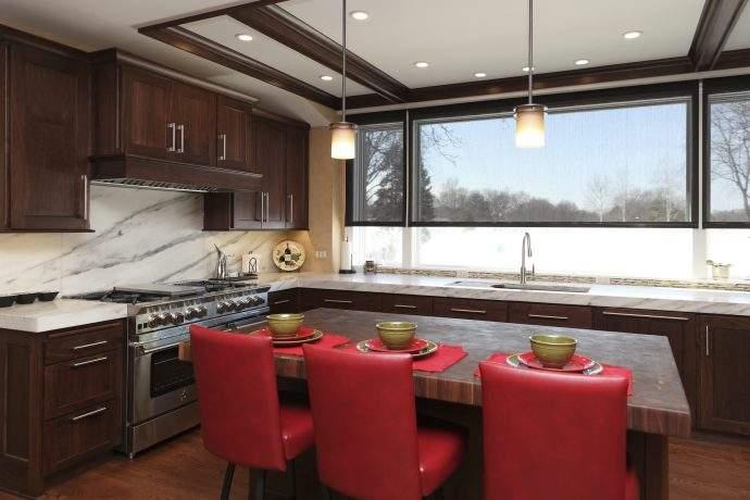 Winnetka Area Walnut Cabinets Kitchen Addition